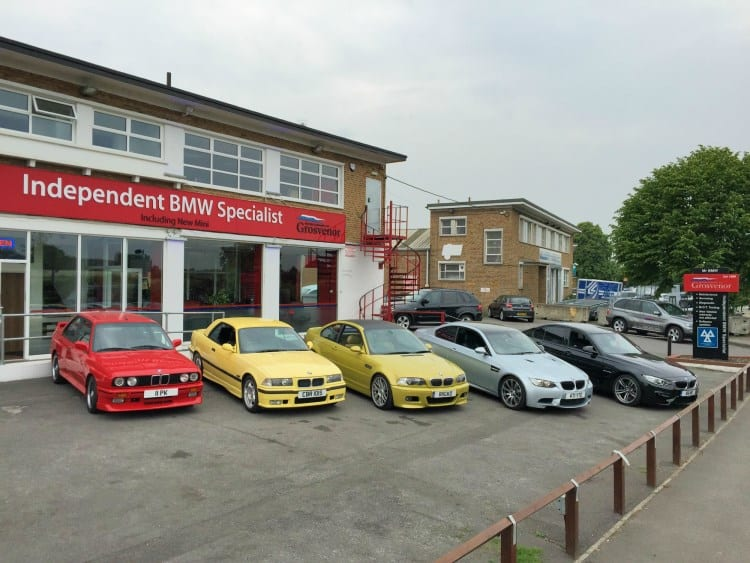 BMW Evolution of the M3 outside Grosvenor Motor Company