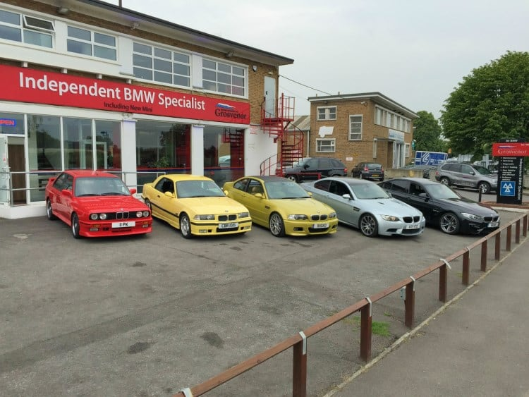 BMW Evolution of the M3 outside Grosvenor Motor Company 2