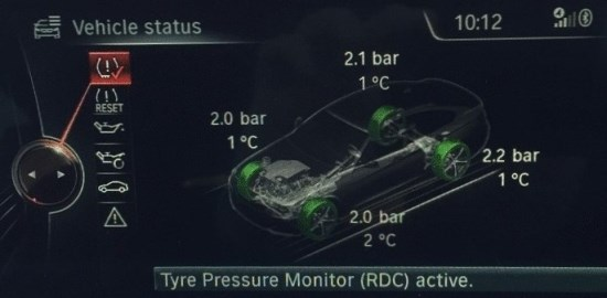 Add tyre pressure & individual tyre temperature to the TPMS display.