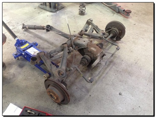 Z3m Coupe rear subframe having powerflex suspension bushes fitted.